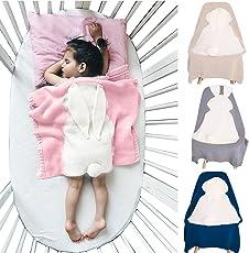 Babydecke Karikatur Niedlich Wrap Swaddle Decke, Oenbopo-Kleinkind-Baby-Kind-reizendes Kaninchen-weiche warme strickte Decke Schlafende Swaddle-Kinderbett-Krippe-Verpackungs-Steppdecke 75cmx98cm