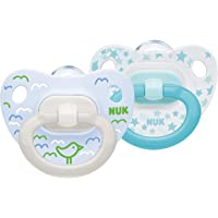 NUK Happy Days Baby Dummies, 0-6 Months, Silicone, BPA Free, 2 Count, Bird/Stars OR Bike/Car (design may vary)