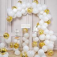 PartyWoo Ballon Blanc Confettis Or, 100 pcs 12 Pouces Ballons Blanc, Ballon Baudruche Blanc, Ballon Blanc Or, Ballon Confetti
