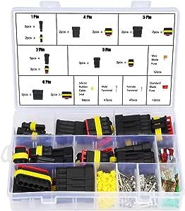 Wasserdicht Schnellverbinder Kabel Steckverbinder Stecker 1 2 3 4 5 6 Stift Mit Kfz Flachsicherungen 216 Pieces Auto