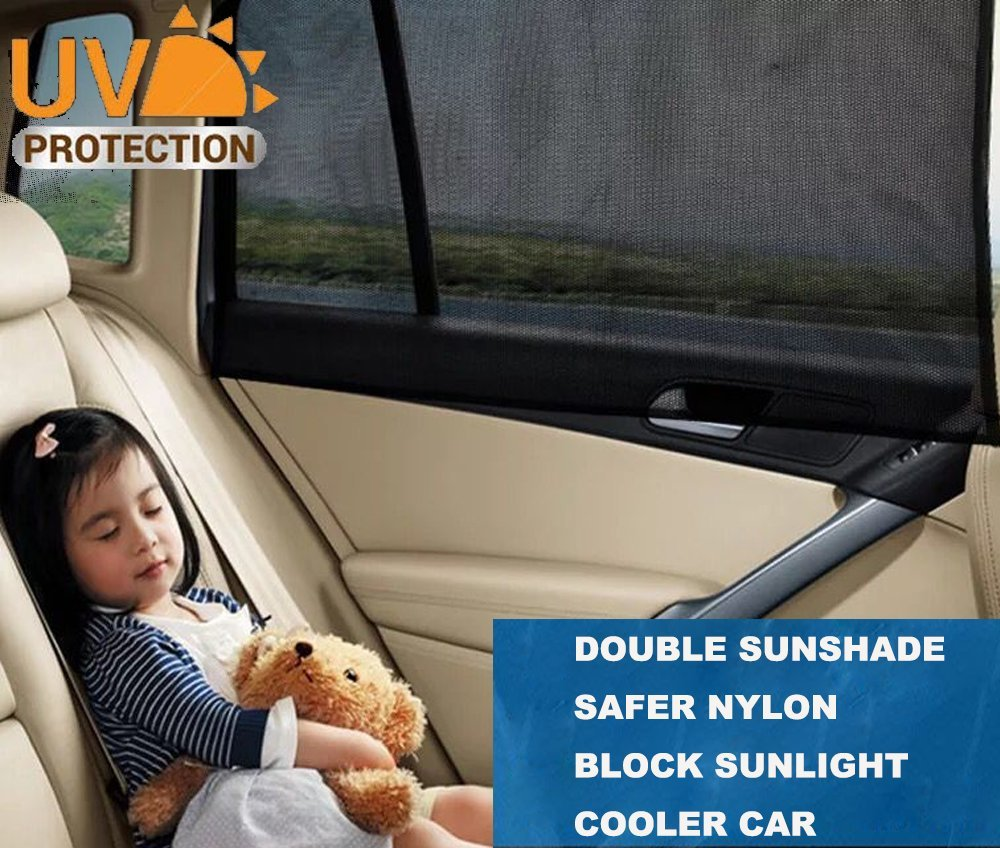 Universal Fit All Vehicles Car Sun Shade 4 Pack Sunshade for Side and Rear Window Easy to Install and Store Heat and UV for Baby Kids and Drivers Trucks SUVs Protect from Sun Glare