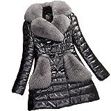 BoxJCNMU Giacca in Pelle da Donna Plus Velluto Spesso Sezione Lunga Sottile Collo di Pelliccia Grande Cappotti in Pelle Cappo