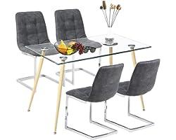 Ensemble de Salle à Manger Moderne avec Table en Verre et 4 chaises Shepping pour Salle à Manger, Cuisine, Salon (Table Ronde