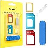 Helect Adattatore SIM Card, Kit Adattatore 5-in-1 per Carte SIM (Nano/Micro/Standard) con Sander Bar e Vassoio Aperto