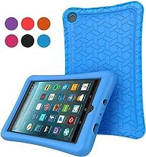 Cammate custodia in silicone per all-new Fire 7, antiscivolo, peso leggero antiurto morbido silicone custodia protettiva per Fire 7(7th Generation, 2017Release) Tablet blu