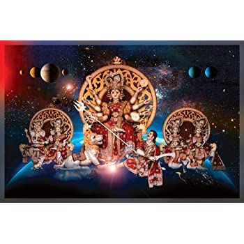 maa Durga Painting HD Print Wall Sticker for Living Room 135 x 90 cm
