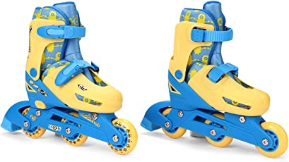 Minion 2-in-1 Inline Adjustable Roller Skate, Blue/Yellow (Small)
