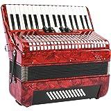 Boquite Accordéon, Professionnel Rouge 34 Touches 48 Basse Piano à Main Accordéon Adulte Débutant Accordéoniste Instrument de