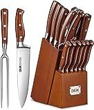 Deik Messerblock Set | Messerset | 16-TLG Messer mit Holzgriff | Edelstahl Kochmesser Set mit Holzblock | Profi…