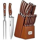 DeikEnsemblede CouteauxSet de Couteaux Professionnels 16Pièces Couteaux de Cuisine avec Bloc en BoisCouteauxenAcierIn
