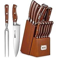 Deik Ensemble de Couteaux Set de Couteaux Professionnels 16 Pièces Couteaux de Cuisine avec Bloc en Bois Couteaux en…