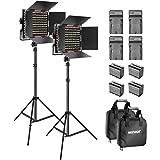 Neewer 2-Pack Dimmable Bicolore 660 Video LED-Licht mit Barndoor und 6,5 Füße, 4 6600mAh Li-Ione Batterie-Ladegerät für…