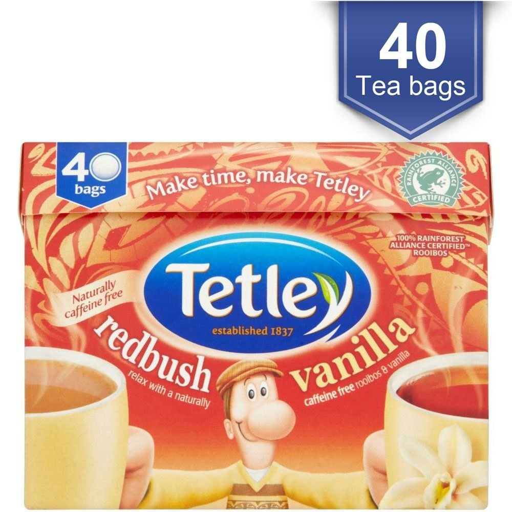 Tetley redbush tea (rainforest alliance) (rooibos tea) (40 bags) (a vegetal tea with aromas of vanilla) (brews in 1-3 minutes)