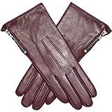 Acdyion - Guanti da donna in pelle con touchscreen e fodera in cashmere, con chiusura lampo, per il tempo libero