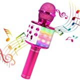 ShinePick Microfono Karaoke, 4 in 1 Bluetooth Wireless LED Flash Microfono Portatile Karaoke Player con Altoparlante per Andr
