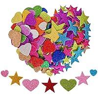 KANOSON Paillettes Mousse Autocollants 150pcs, Mini Coeur et étoile Autocollant Enfants, Autocollant en Mousse pour…