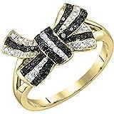 0,20Carat (quilate) 10K oro redondo blanco y negro Diamond–anillo de nudo mano derecha 1/5CT