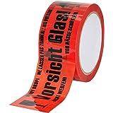 """baytronic PP waarschuwingstape""""Vorsicht Glas"""" 66m x 50mm 32μ rood (1x rol)"""