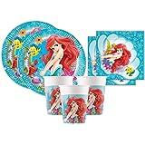Procos Ariel - Kit de cumpleaños para niña, diseño de Sirena, para 16 Personas, Platos, Vasos, servilletas, 72 Unidades