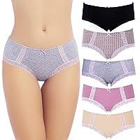 COMSOFT Culottes en Coton sous-vêtements pour Femmes Slips Hipster Extensibles en Dentelle Douce