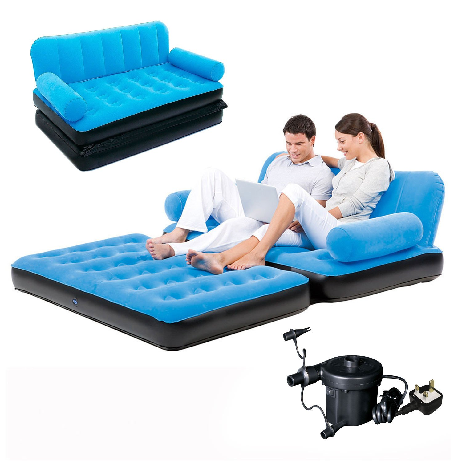 Bestway Flocked Double Inflatable Air Bed/Couch Sofa - 1.88 x 1.52 x 0.64  m, Blue: Amazon.co.uk: Sports & Outdoors