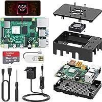 TICTID Raspberry Pi 4 Modèle B (4 B) 8Go RAM avec 32Go Micro SD Carte Classe 10 Alimentation Interrupteur Marche/Arrêt, Ventilateur, Boîtier Noir, Dissipateur