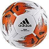 adidas Men's Team TopRepliqu Voetbalbal, top: wit/oranje/zwart/ijzer met. broek: zilvermet, 4