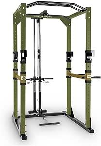 Capital Sports Tremendour Power Rack Cage à Squat (Rack de Musculation avec Barre de Traction et poulie pour tractions latissimus pour Tous Types d'exercices, 4 Barres de Traction réglables) - Kaki