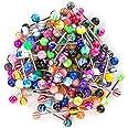 JFORYOU 100 Pz Piercing per Lingua,14 G Diversi Colori e Motivi Lingua per Capezzoli Misti Bilancieri Gioielli per Corpo Pier