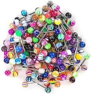 JFORYOU 100 Pz Piercing per Lingua,14 G Diversi Colori e Motivi Lingua per Capezzoli Misti Bilancieri Gioielli per Corpo Piercing