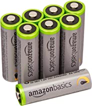 AmazonBasics 8 Pack AA Ni-MH High Capacity Pre-Charged Rechargeable Batteries, 1000 Recharge Cycles (Typical 2400mAh, Minimum 1900 mAh) - Packaging May Vary