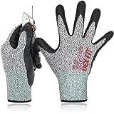 DEX FIT Gant anti coupure niveau 5 Cru553, Comfort 3D Stretchy Fit, Power Grip, Smart Touch, Pass FDA Food Contact, Durable Nitrile Foam, lavable en machine, Gris Moyen 1 Pair