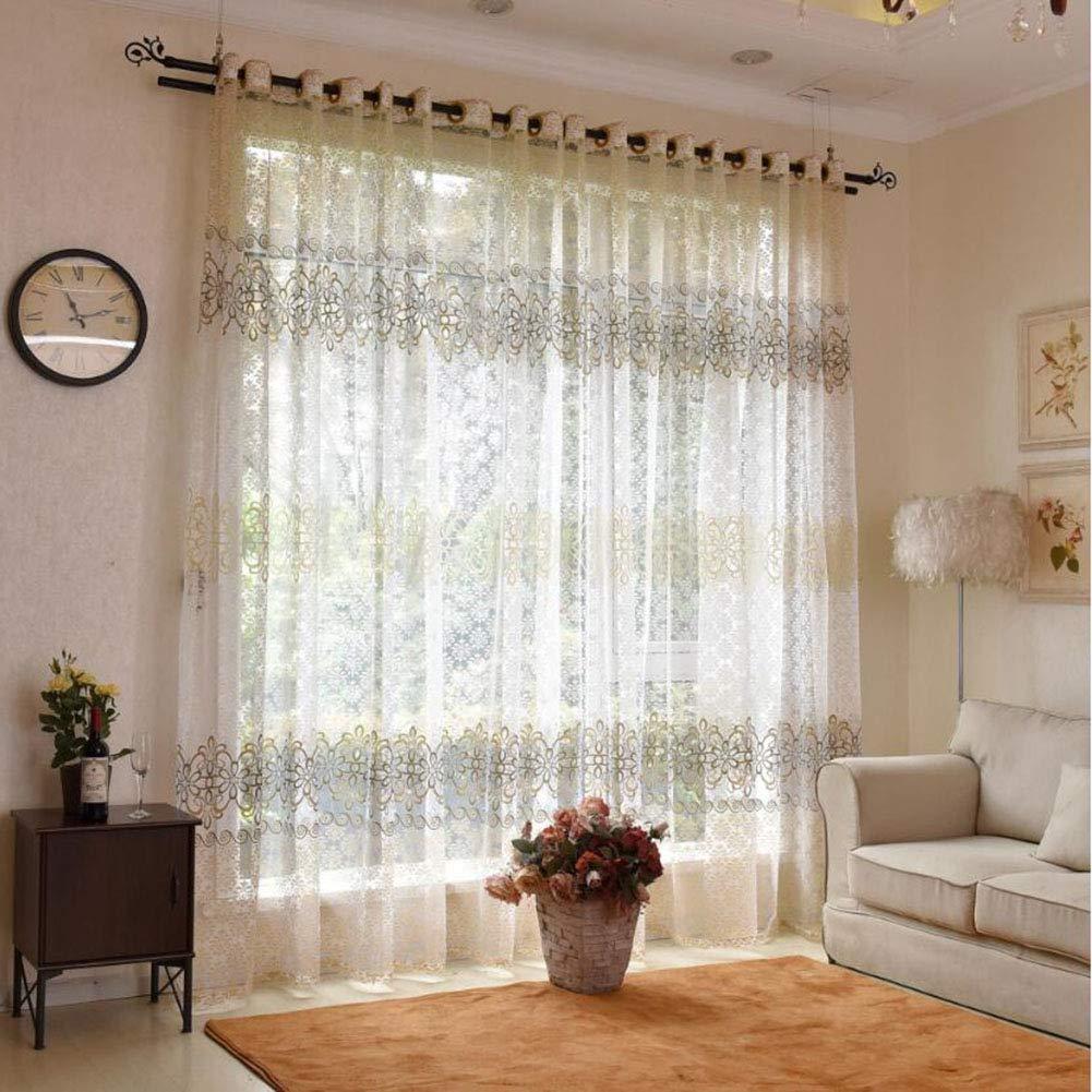 ZYY-Home curtain Respirabile Morbido Fiore Tenda Trasparente Tende Stampa  Voile Soggiorno Camera da Letto con Occhielli Moderni E Tende Pastorali ...