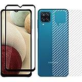 Kartronics Compatible with Samsung A12/M12 Back Screen Protective Film Carbon Fiber Skin Transparent Screen Guard Sticker + 5