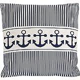 Grafelstein Kissenhülle Anchors IN The Row Natur weiß blau maritim Kissen Long Island Anker