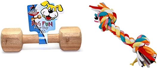Foodie Puppies Dog Chew Toy Training Combo (Wooden Dumbbell + Rope Chew Toy) - Color May Vary