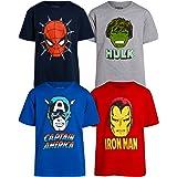 Marvel Pack de 4 camisetas gráficas de los Vengadores para niños: Iron Man, Capitán América, Spider-Man, Hulk (niños pequeños