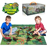 Anpro Dinosaur Toys,15pcs Realistic Plastic Dinosaur Figures with 50pcs Dinosaur Stickers,Activity Play Mat Trees Rocks to Create A Dino World, Best Preschool Education Gift for kids