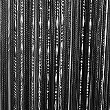 Gosear Drop Beaded Quaste String Vorhang Tür Fenster Startseite Decor Divider 1 x 2 m Schwarz -