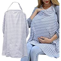 Auranso Breastfeeding Cover Infinity Nursing Cover Scarf with Pockets, Breathable Cotton Mums Breastfeeding Apron Shawl Baby Car Seat Cover Newborn Baby Swaddle Blanket Grey