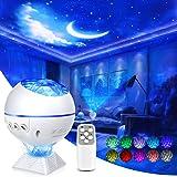 Lampada Proiettore Stelle,3In1 Proiettore Ocean Wave Night Light Star,Con Controllo vocale telecomando,40 colori Mini 360 Pro