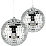 2 Pack Spiegel Ballen, 10 cm Zilver Disco Ball Reflecterende Spiegel Bal Glas Spiegel Glitter Bal Disco Spiegel Bal Decoratie