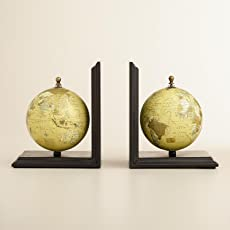M&M Wood Globe Vintage Decorative Bookends for Office, Kitchen Decor, Bookshelf for Living Room, Home-Decor and Gift 8-inches(576, Black)