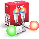 Innr Bombilla LED E27 conectada, color, RGBW, works with Philips Hue* (Puente requerido) & Echo Plus, 2-Pack, 285C-2