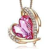 CDE Collar con Colgante de corazón de Amor para Mujer Collares Chapados en Oro/Blanco de 18 Quilates Joyería Regalos de cumpl