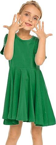 Kleid Mädchen Sommer A-Linie Kurzarm/Langarm Baumwolle einfarbig Prinzessin T-Shirt Kleider Basic Fattern Skaterkleid Rundhal