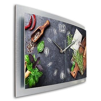 Wanduhr für küche  Kräuter Küche Wanduhr 3D XXL Designer leise Funk Motiv Funkuhr ...