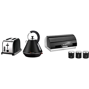 Kettle Black 3 Canisters Bread bin 6Pc Set of: Toaster
