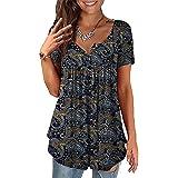Ruig Maglietta da Donna Stampa Digitale Scollo a V Allentato Taglio Estivo Maglietta Lunga Casual Maglietta Larga Maglietta C
