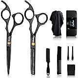 10Pcs Hair Cutting Scissors Set Professional Haircut Scissors Kit with Cutting ScissorsThinning Scissors CombCape Clips Black